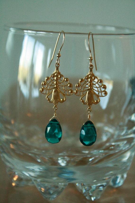 Gorgeous Peacock Teal Blue Quartz and  Gold FIligree Earrings, bridesmaid, wedding, retro