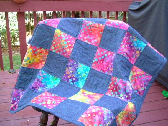 Denin and Bright Color Funky Baby Quilt - Clearance Sale