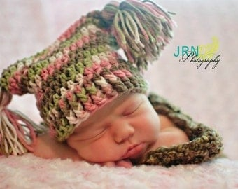 Crochet Baby Hat - Jester Hat - Harlequin Baby Hat - Camo Colored Baby Hat - Baby Hat With Tassles - Pom Pom Hat - Baby Girl Hat - Prop