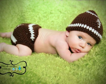 Baby Photo Prop - Baby Football Outfit - Football Outfit - Crochet football outfit - Baby football hat - handmade winter hat - football hat