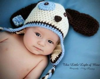 Dog hat - baby dog hat - baby photo prop - crochet puppy hat - puppy hat - animal hat - newborn dog hat - newborn photo prop