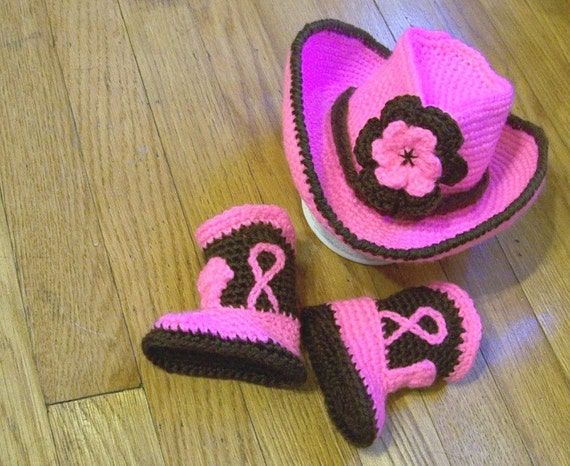 Baby Cowboy Hat And Boots Hot pink and Chocolate Brown Newborn and beyond