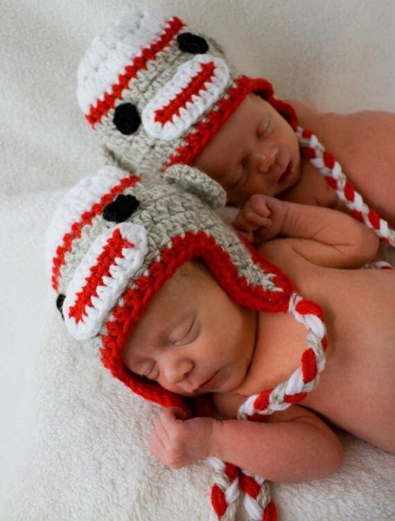 Baby Monkey Hat for Twins Newborn You Pick The Gender Twin boys