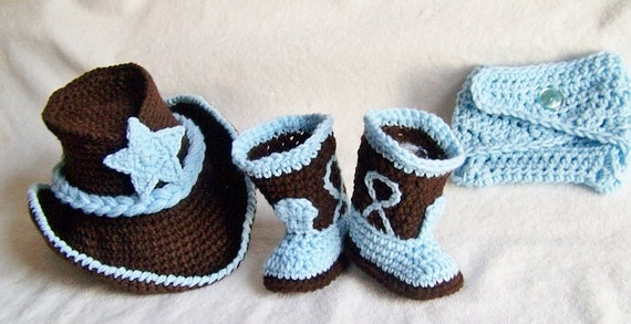 Baby Cowboy Hat, Boots And Diaper Cover Chocolate Brown An Baby Blue Newborn And Beyond