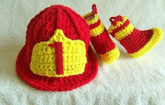 Firefighter Baby Helmet And Boots Newborn to 24 Months or 2T  You Pick The Colors and Size