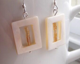 White Shell Bead Dangle Earrings