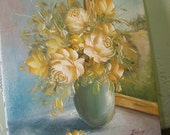 sweet romantic signed oil painting of roses by a window