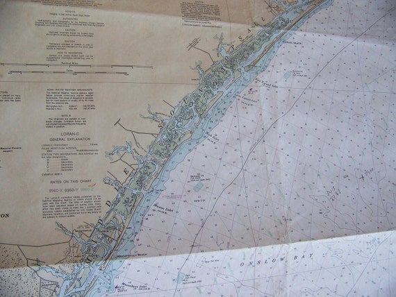 vintage North Carolina coast nautical map New River Inlet to Cape Fear