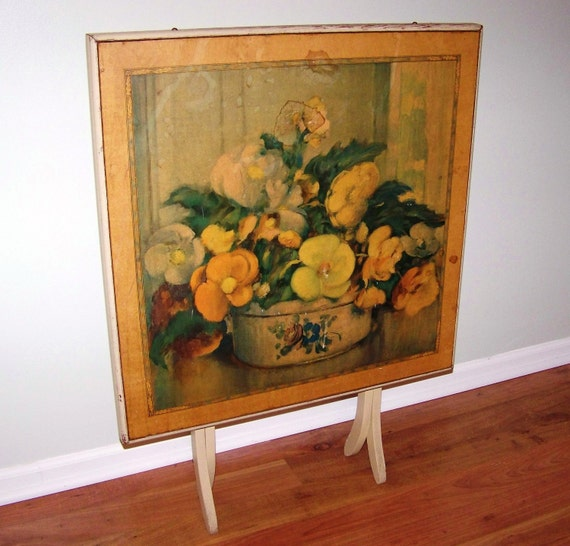 Shabby Vintage Wooden Folding Card Table With Floral Motif