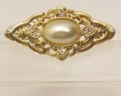 Small Rhinestone and Faux Pearl Brooch