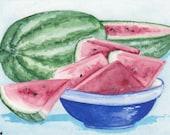 ACEO Original Watercolor by C Wiedenheft /  Summer Watermelon