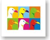 5x7 POP ART / Print from original / C Wiedenheft / Seagull