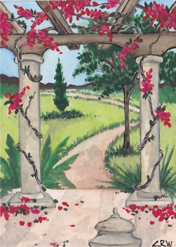 ACEO Original 50% OFF SALE / C Wiedenheft / Garden View