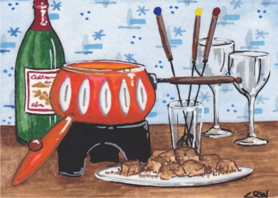 ACEO Original Watercolor by C Wiedenheft /  Fondue Night