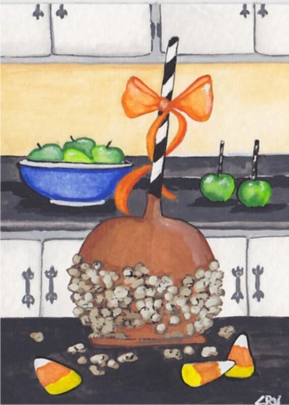ACEO Original Watercolor by C Wiedenheft /  Carmel Apple
