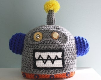 Robot Hat, Crochet Beanie, Halloween Costume, Children's Clothing, Crochet Robot, Boys, Girls, Accessories, Costume, Geekery, Holiday Gift