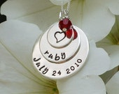 Personalized New Baby Necklace for Mothers - Handstamped Sterling Silver Layered Disks - Custom