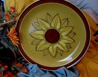 VIintage PLATTER  Sunflower  / SUNBURST AUTUMN  Crest Stone 1960/70Large Serving Platter  Stoneware Japan