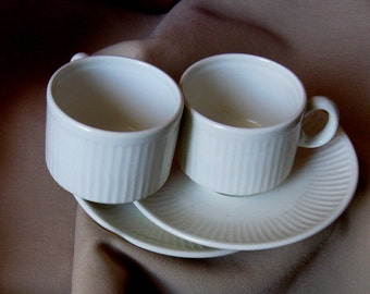 Demitasse Cup Saucers  / Pagnossin Italy / Set of two Rib Earthenware Cups and saucers/,Vintage   Treviso Italy