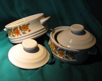 Vintage Soup Bowls With Lids /  Set of 2  / Mini Casserole bowls with lids /Cozy Bowls of Warmth Hearty Soups