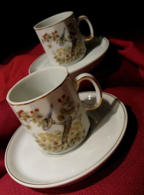 Demitasse/ Vintage Floral  2 Cups and Saucers / Petite and Delicate Floral with lovely birds /  Serve with Vintage Elegance Demitasse