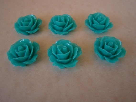 6  Gorgeous Blue Teal 18mm Resin Rose Flower Cabochons