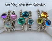 One Birthstone Stacking Ring w/ 6mm cabochon - Stackable Rings -  Mothers Ring -  Family Ring -  Sterling Silver