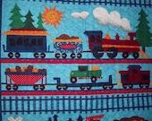 Quilted choo choo train baby blanket