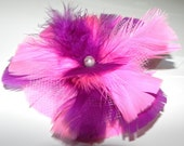 Feather fascinator, Purple and pink flower, feather flower, head piece