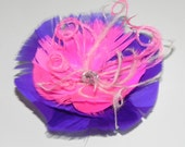Pink feather, feather fascinator in purple and pink, purple hair clip, purple head piece