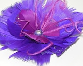 purple fascinator, feather flower, purple headpiece, purple wedding