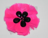 Fuchsia fascinator, feather flower, head piece pink and black