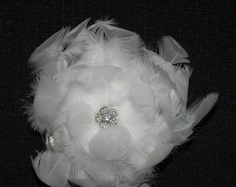 White feather flower, bridal hair clip, head piece, fascinator, brooch