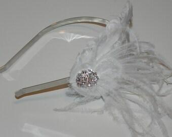 White headband, bridal head piece, feather fascinator, white feather fascinator
