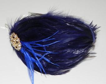 Blue feather headband, head piece, navy blue feather pad, headband