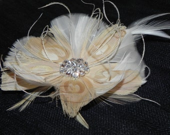 Champagne fascinator, bridal head piece, ivory feather flower