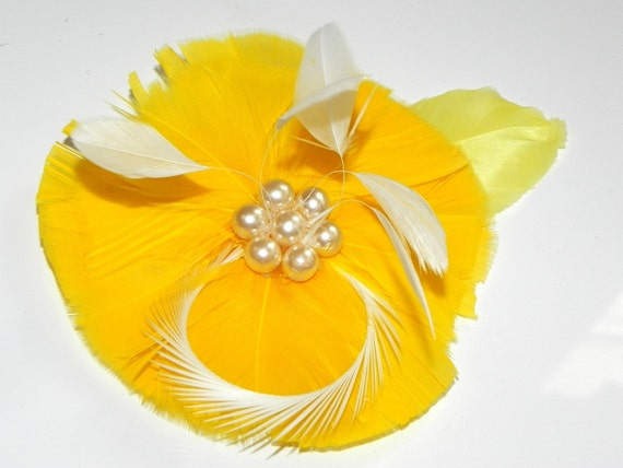 Yellow fascinator, hair clip, yellow feather flower, bridal head piece, fascinator for bridesmaids