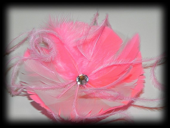 Pink flower, pink fascinator, pink head piece, feather fascinator