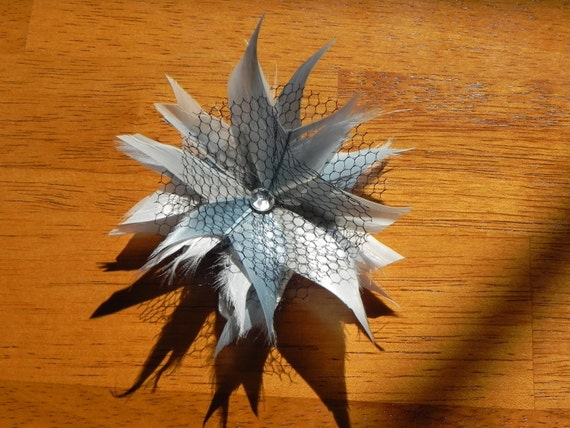gray feather flower fascinator, gray head piece
