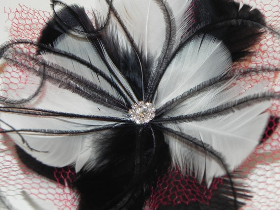Feather fascinator, black and white fascinator, head piece, hair clip