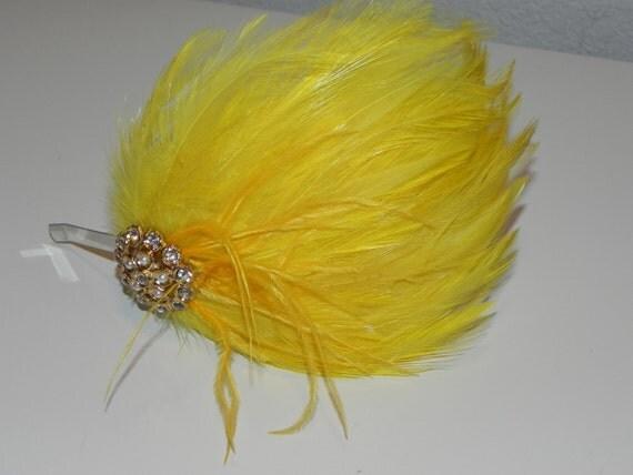 Yellow Feather pad, headband, head piece