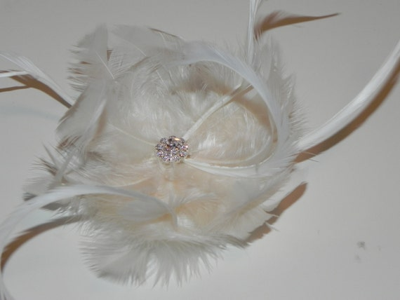 Ivory feather flower, fascinator, hair clip