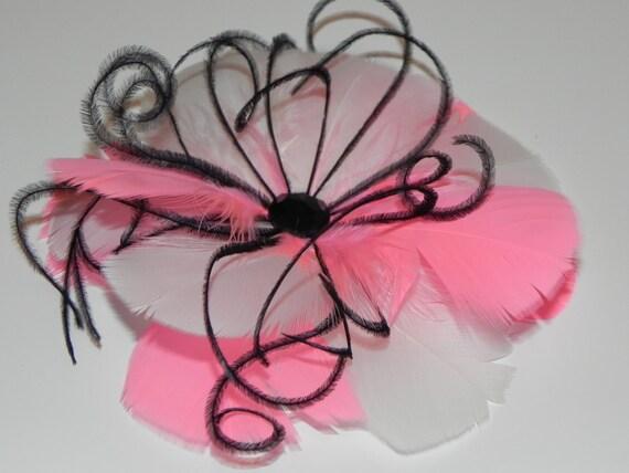 Feather fascinator, bridal feather flower, pale pink flower,  hot pink fascinator