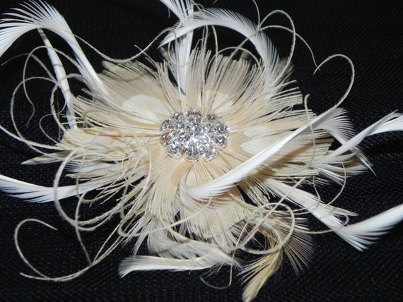Bridal Ivory headpiece, feather flower, feather fascinator