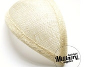 Ivory Retro 1940s style Teardrop Millinery Sinamay Hat Base for Fascinators and Cocktail Hats