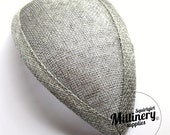 Silver Retro 1940s style Teardrop Millinery Sinamay Hat Base for Fascinators and Cocktail Hats