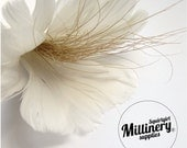 Ivory Goose & Peacock Hurl Feather Flower for Hats, Fascinators and wedding crafts
