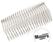 "8.5cm (3.25"") Silver Plated Metal Hair Comb for Fascinators & Millinery"