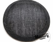 Charcoal Grey Round Millinery Sinamay Hat Base for Fascinators and Cocktail Hats