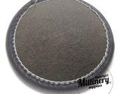 Round Wool Felt Fascinator Hat Base With Velvet Trim - Grey